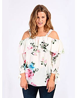 Koko Ivory Floral Cold Shoulder Blouse