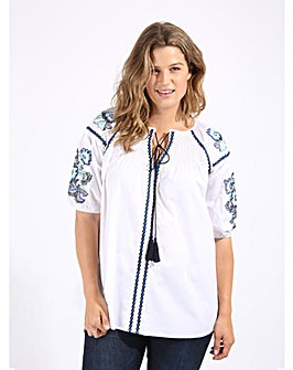 Koko White Embroidered Tie Front Blouse