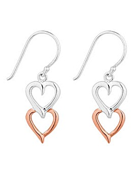 Simply Silver two tone heart earring