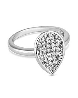Jon Richard Silver pave peardrop ring