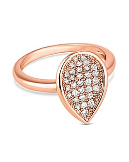 Jon Richard Rose gold pave peardrop ring