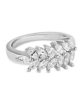 Jon Richard Silver crystal leaf ring