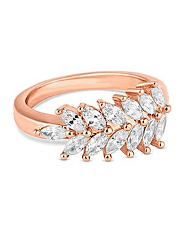 Jon Richard Rose gold crystal leaf ring