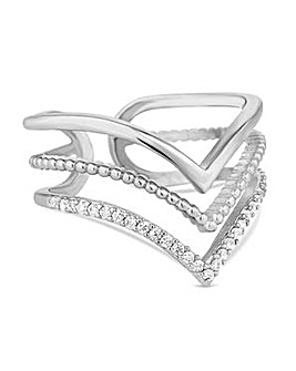 Jon Richard Silver multi row arrow ring