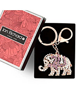 Jon Richard Rose gold elephant keyring