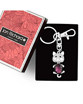 Jon Richard Purple crystal cat keyring
