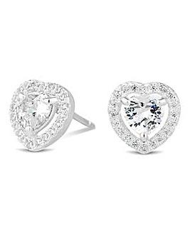 Simply Silver halo heart earring