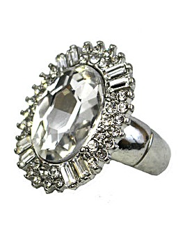 Glass And Diamante Stone Ring