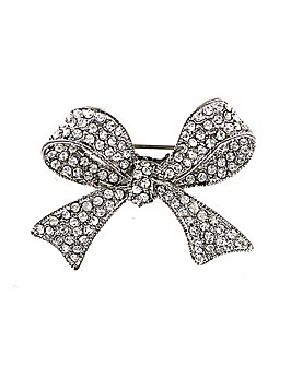 Diamante Bow Brooch