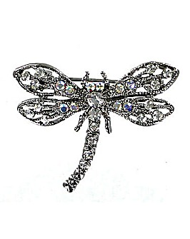 Diamante Encrusted Dragonfly Brooch