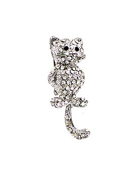 Diamante Encrusted Cat Brooch
