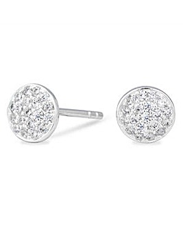 Simply Silver pave disc stud earring