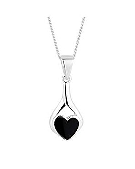 Simply Silver onyx heart twist necklace