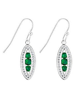 Simply Silver green navette drop earring