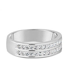 Simply Silver double row band ring
