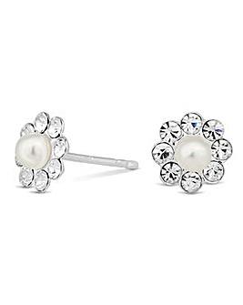 Simply Silver pearl flower stud earring