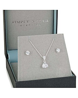 Simply Silver trillion cut jewellery set