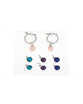 Silver Hoop Interchangeable Earrings