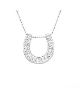 9ct White Gold Diamond Horseshoe Pendant