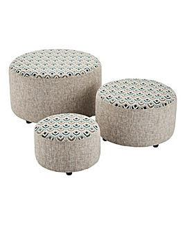 Maya Set of Three Footstools
