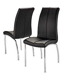 Primo Pair of Faux Leather Dining Chairs