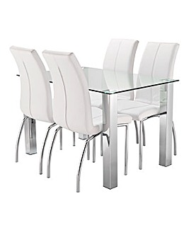Primo Rectangular Dining Table 4 Chairs
