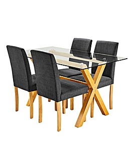 Albany Dining Table 4 Mia Fabric Chairs