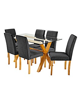 Albany Dining Table 6 Mia Fabric Chairs