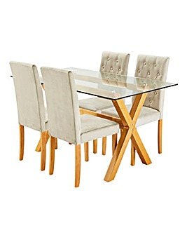 Albany Dining Table and 4 Grace Chairs