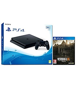 PS4 Slim 500GB Black Inc Resident Evil7