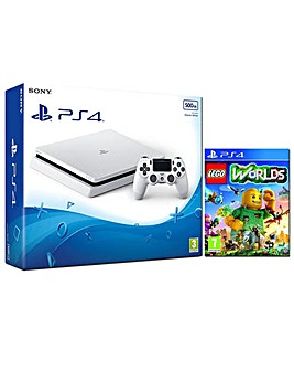 PS4 Slim 500gb White Inc Lego Worlds
