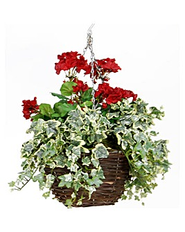 Artificial Plant Geranium Basket