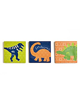 Funky Dino Set of 3 Canvases