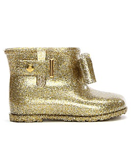 Mini Melissa Sugar Bow Glitter Rain Boot