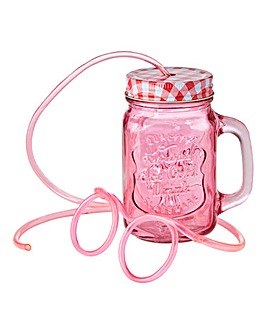 Personalised Mason Jar with Drinking Str