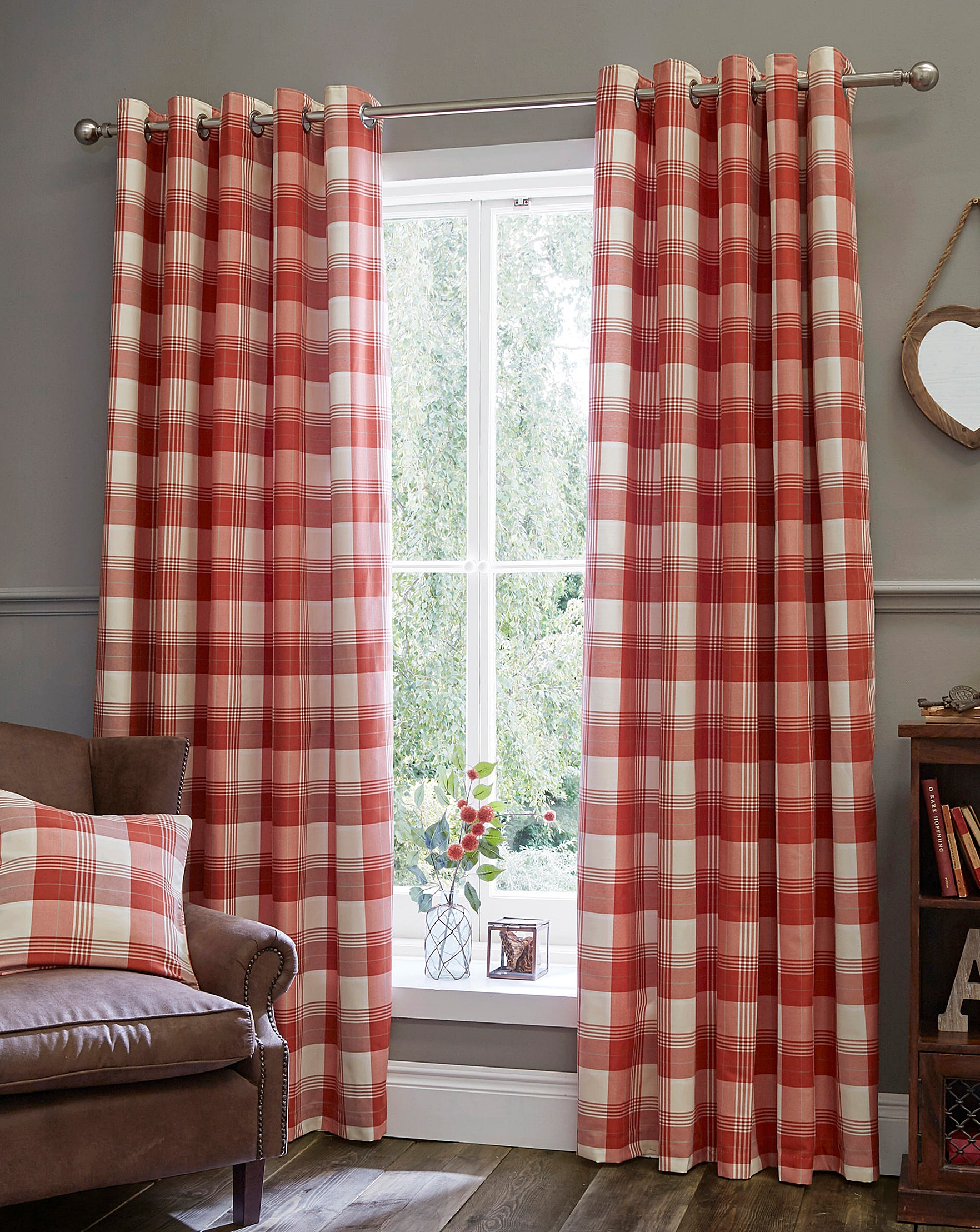 Plaid Curtains For Living Room Kindle Plaid Check Eyelet Lined Curtains House Of Bath