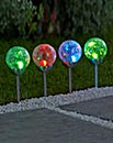 Set of 4 Crackle Ball Solar Lights