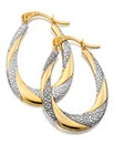 9 Carat Gold Two Tone Creole Earrings