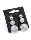 Three Pairs Silver Effect Stud Earrings