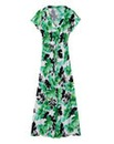 Green Print Kimono Sleeve Maxi Dress