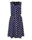 Navy/Ivory Spot Button Shirt Dress