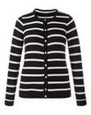 Textured Stripe Crew Neck Cardigan