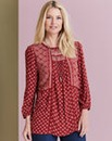 Red Print Patchwork Crinkle Top