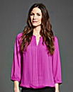 Magenta Pleat Detail Blouse