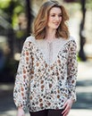 Ivory Print Tie Neck Gypsy Blouse