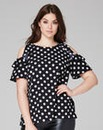 Polkadot Ruffle Cold Shoulder Blouse