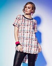 Grazia Neon Check Top
