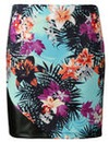 Grazia Hawaiian Print PU Trim Skirt
