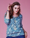 Jeffrey & Paula V Neck Print Jersey Top