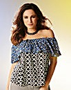 Kelly Brook Frilled Neck Print Top